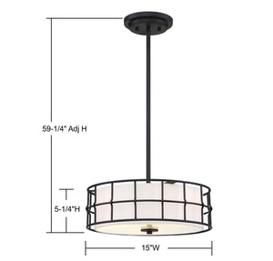 570731 - Three Light Semi-Flush Mount - Black