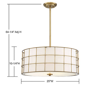 570791 - Five Light Pendant - Warm Brass