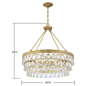 570712 - Six Light Pendant - Warm Brass