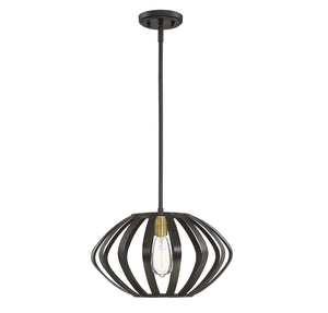574527 - One Light Mini Pendant - Oil Rubbed Bronze and Natural Brass