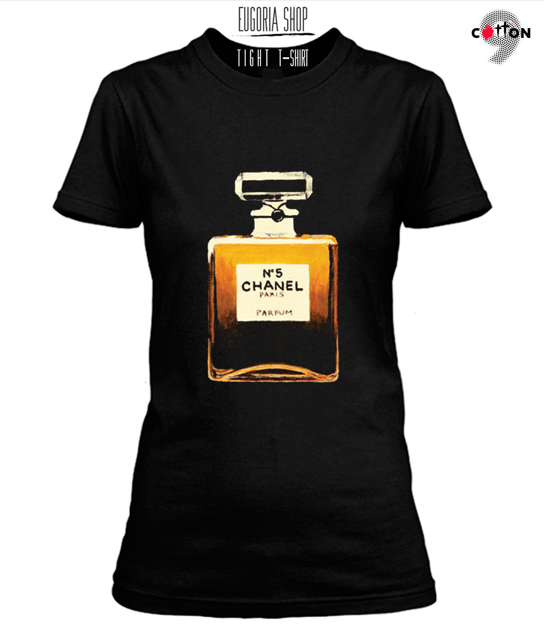Chanel T Shirt Golden Perfume Print
