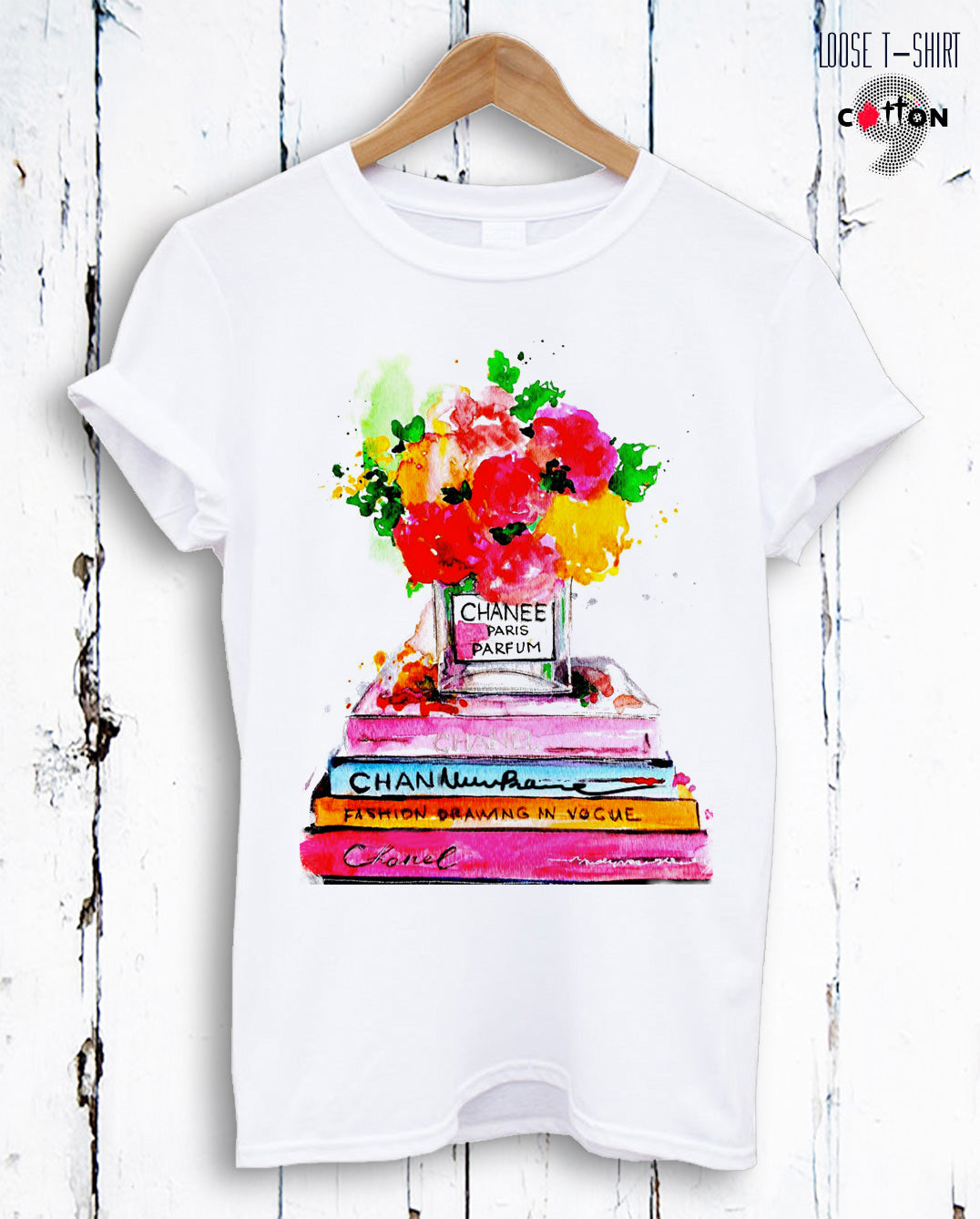 Books & Flowers Channel Perfume Print Cotton T-shirt