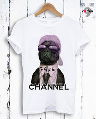 Dog Fake Channel Print Cotton T-shirt
