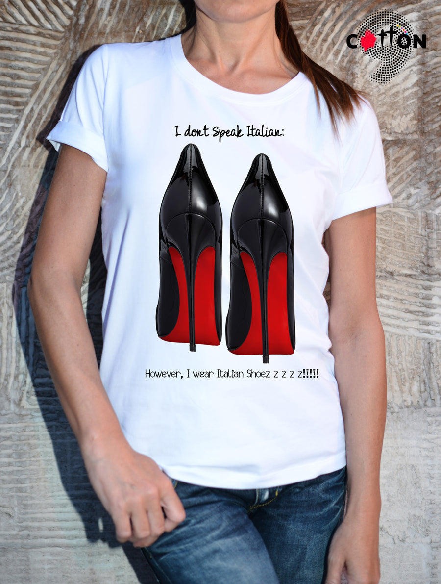 Louboutin T Shirt Black High Heels Print