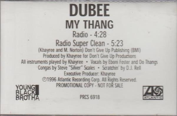Dubee: My Thang Promo w/ Artwork