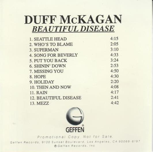 Duff McKagan: Beautiful Disease Advance Promo w/ Artwork