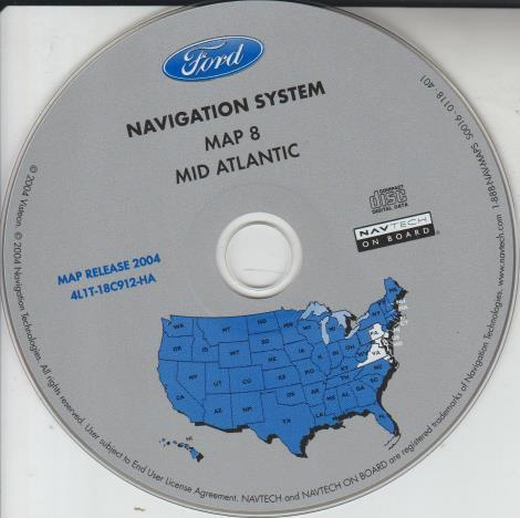 Ford Navigation System Map 8: Mid Atlantic 4L1T-18C912-HA Map Release 2004