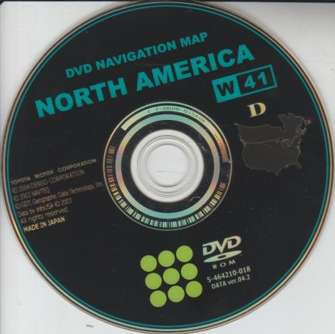 Toyota DVD Navigation Map: North America 2004 5-464210-018 DATA ver.04.2