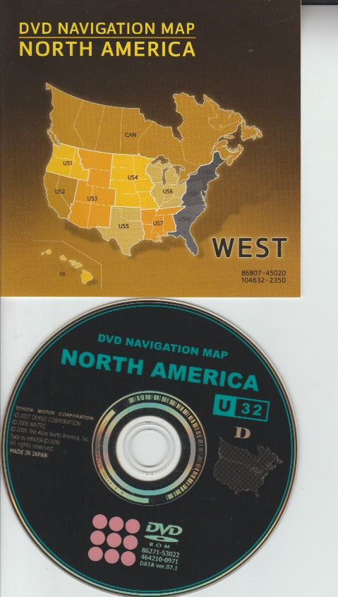 Toyota DVD Navigation Map: North America: West 2007 86271-53022, 464210-0971 DATA ver.07.1