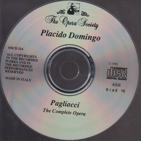 Placido Domingo: Pagliacci: The Complete Opera (Domingo, NYCO, Rudel, 24 February 1968) w/ Back Artwork