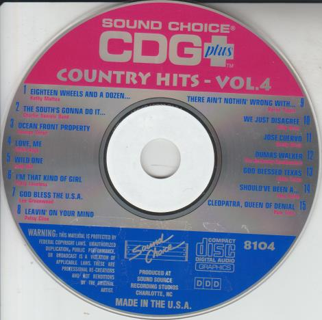 Sound Choice CDG Plus: Country Hits Volume 4 w/ No Artwork