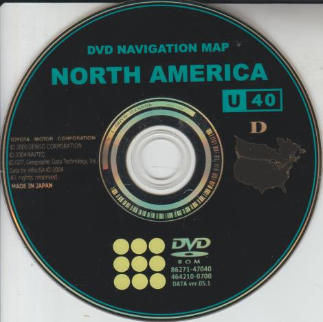 Toyota DVD Navigation Map: North America 2005 86271-47040 DATA ver.05.1