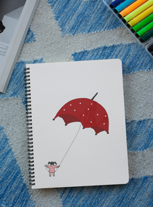 'Girl with Umbrella' Digital Art Spiral Notebook