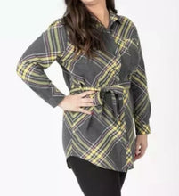 Load image into Gallery viewer, Flannel Tunic - Simple Plaid Gray