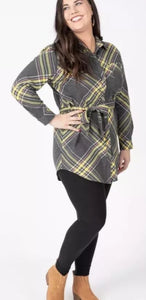 Flannel Tunic - Simple Plaid Gray