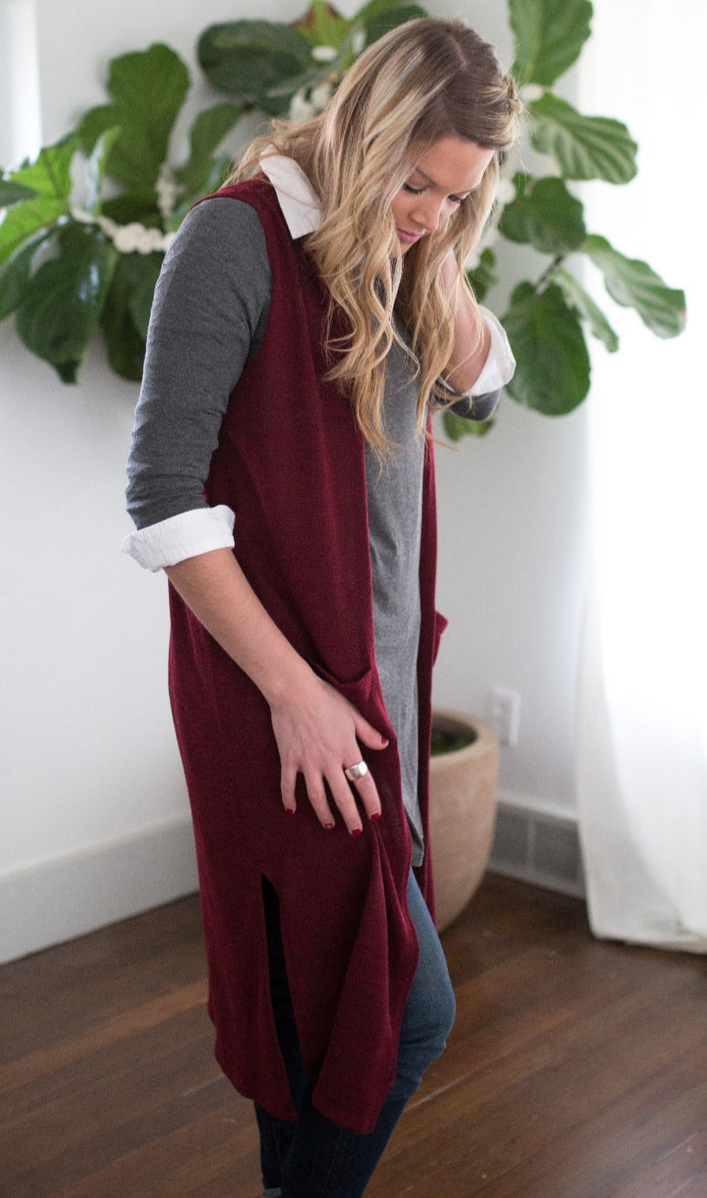 Duster Vest - Varied Wine