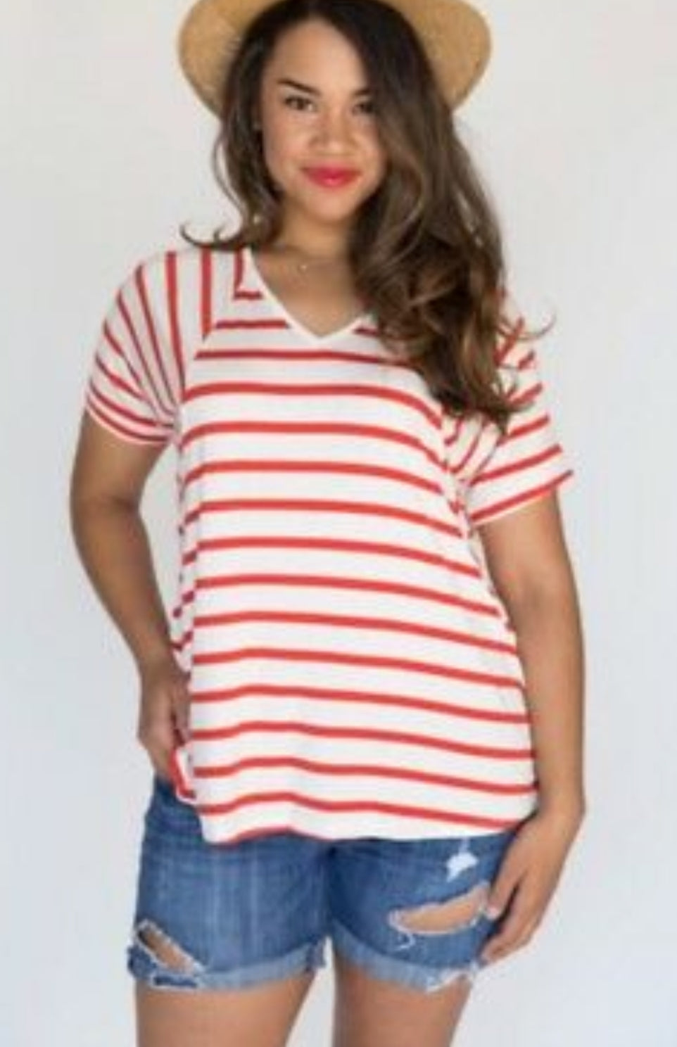 Love Top - Red/Orange on Ivory