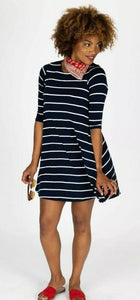 Swing Tunic - 3/4 Sleeve - Navy/Ivory