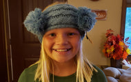 CC KIDS Double Pom Head Wrap - Denim