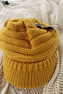 CC Beanie Cap w/ High Ponytail Hole - Mustard