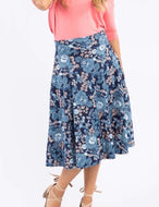 Midi Skirt w/ Pockets - I Got You Babe Navy Chambray