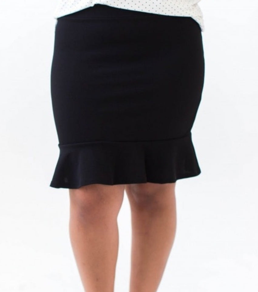 Flounce Pencil Skirt - Black