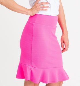 Flounce Pencil Skirt - Fuchsia Neon