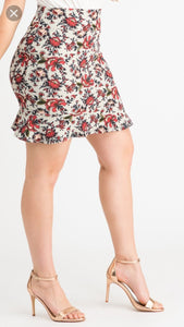 Flounce Pencil Skirt - Floral Sage & Rust