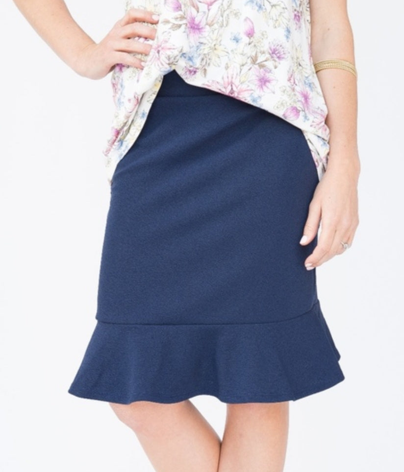 Flounce Pencil Skirt - Navy