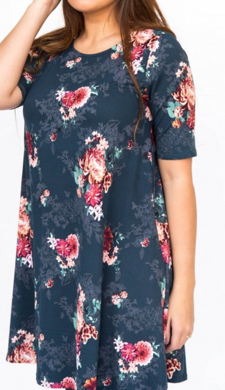 Swing Tunic - Teal Vintage Floral