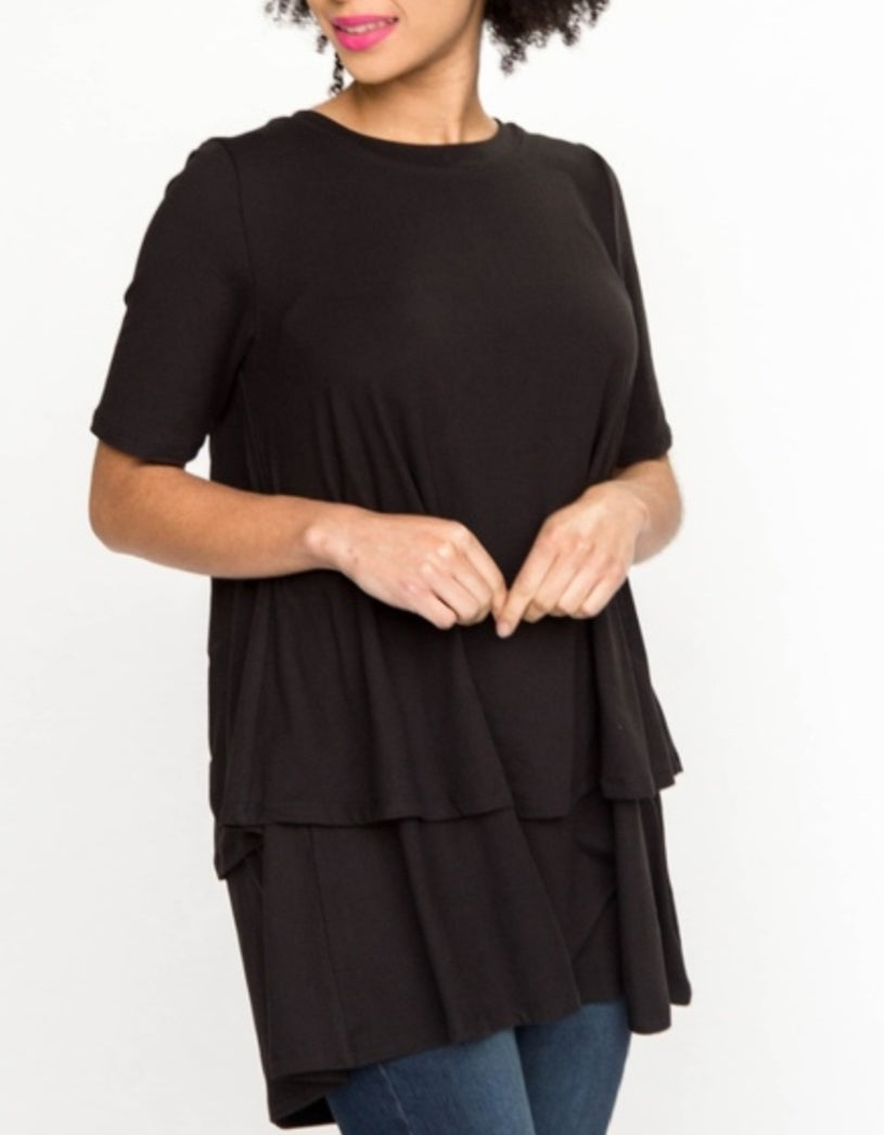 Tiered Tunic - Half-Sleeve - Baby Suede - Black