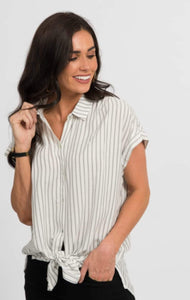 Button Down Cuff Sleeve - Charcoal Stripe