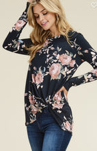 Load image into Gallery viewer, Floral Long Sleeve Twist Hem - Black