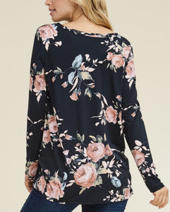 Floral Long Sleeve Twist Hem - Black