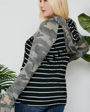 Load image into Gallery viewer, Striped/Camo Colorblock Double Hoodie