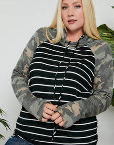 Striped/Camo Colorblock Double Hoodie