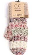 CC Beanie Mittens - Fuzzy Lined Tr-Color - Beige