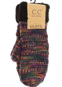 CC Beanie Mittens - Fuzzy Lined Multi-Color - Black