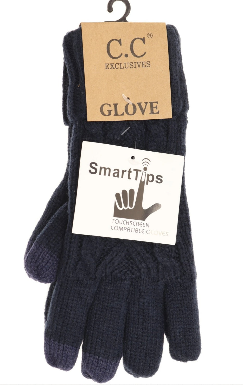 CC Beanie Gloves - Lined Cable Knit - Navy