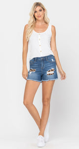 Judy Blue Shorts - Leopard Patch