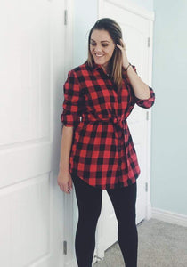 Flannel Tunic Buffalo Check - Red/Blk