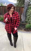 Load image into Gallery viewer, Flannel Tunic Buffalo Check - Red/Blk