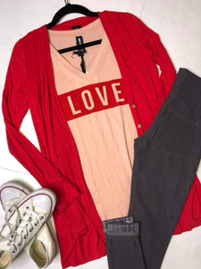 Graphic Tee V-Neck - Love