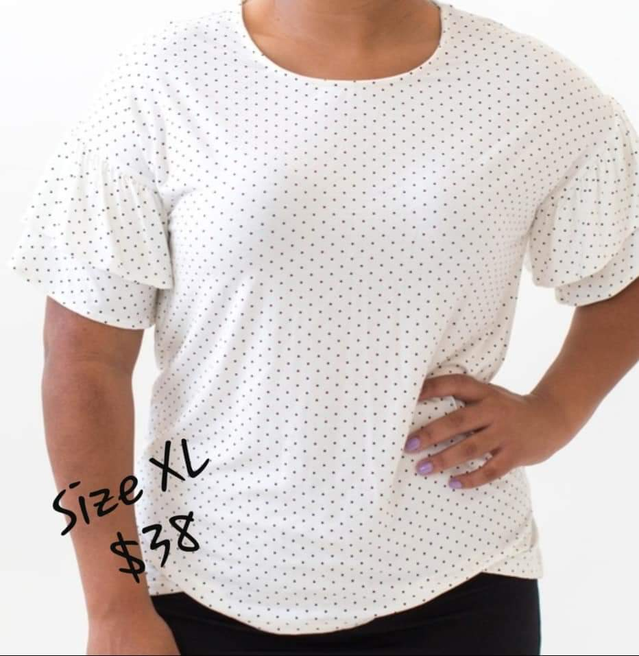 Frill Sleeve Top - White with Black Pin Dots