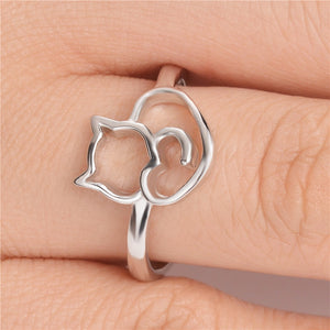 Cat Love Silver Ring