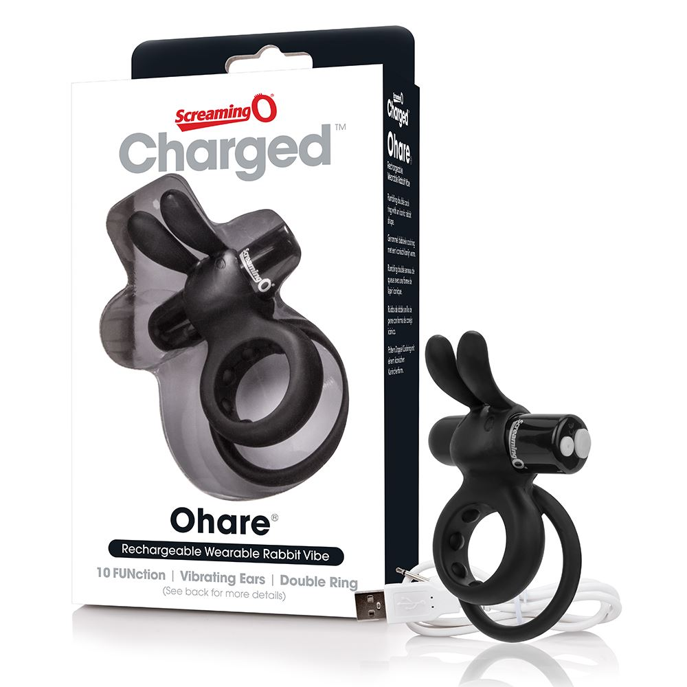 Screaming O Charged Ohare Vibrating Cock Ring - Black