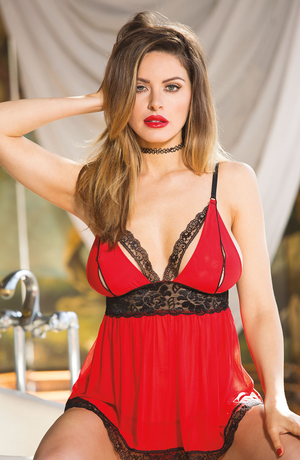 Split Cup Babydoll Red/Black