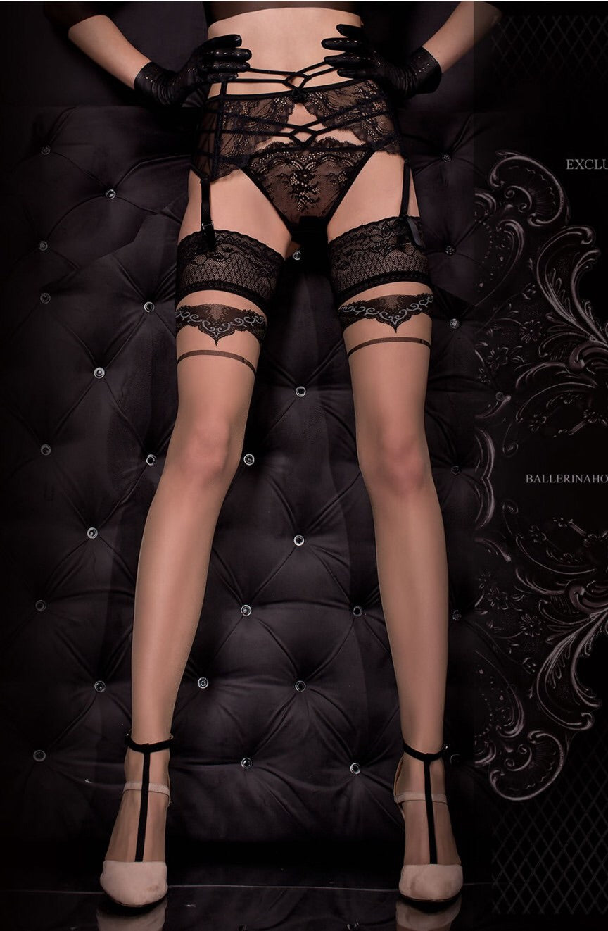 Ballerina 323 Hold Ups Nero (Black) / Skin