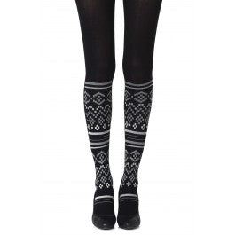 "Zohara - ""Too Cool"" - Light Grey Print Tights"