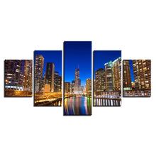 City Building Nightscape 5 Piece HD Multi Panel Canvas Wall Art Frame